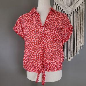 Old Navy | Floral Tie Waist Button Down size M